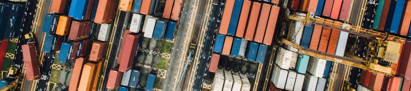 Aerial view of containers at a port