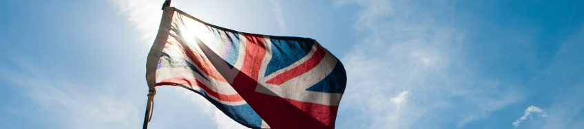 UK union flag blowing in the wind